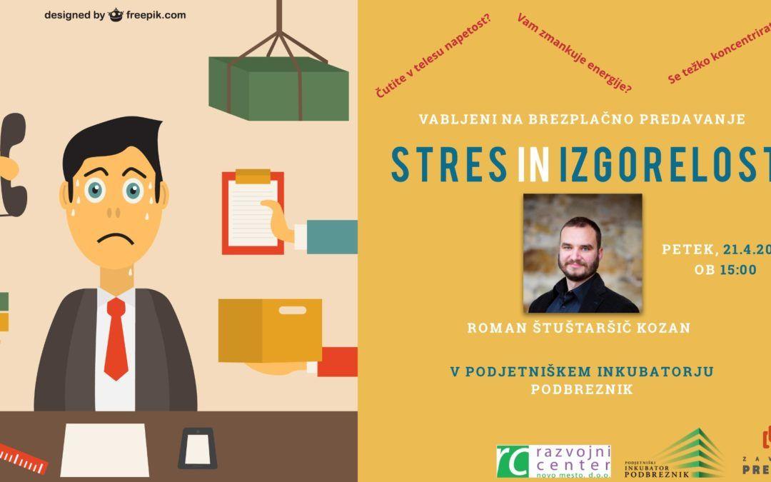 Brezplačno predavanje: Stres in izgorelost
