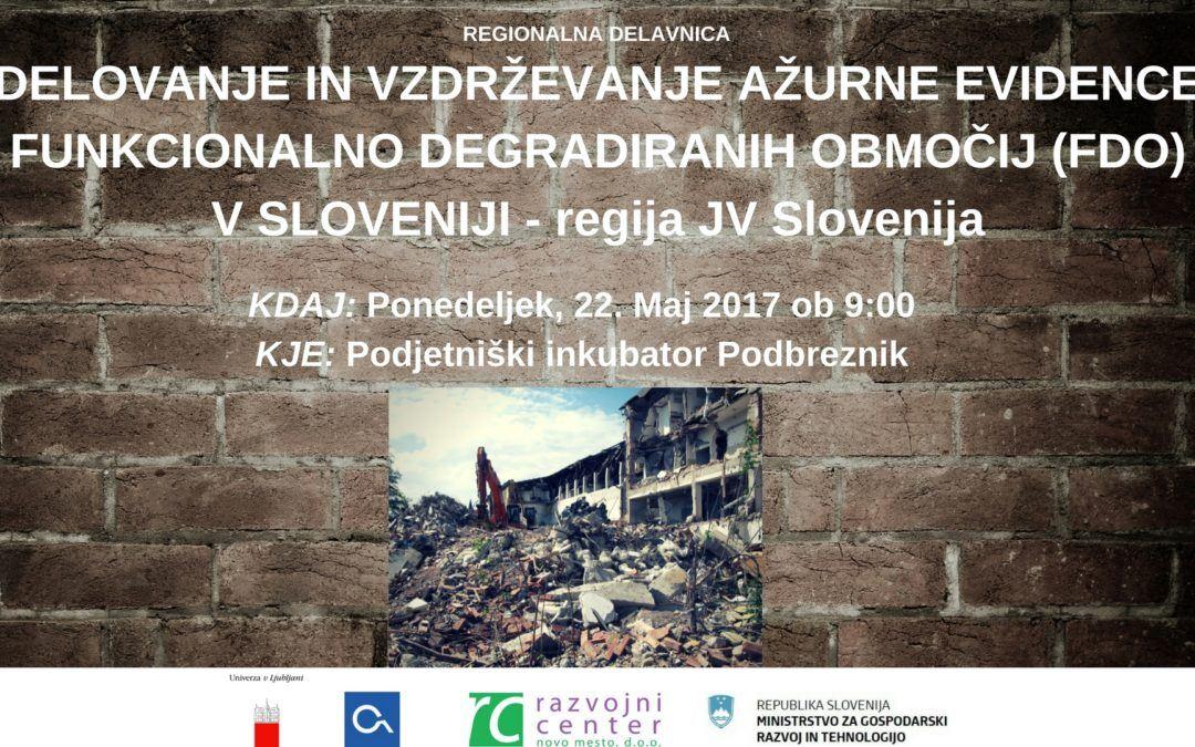 Regionalna delavnica: Delovanje in vzdrževanje ažurne evidence FDO
