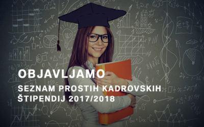 Seznam prostih kadrovskih štipendij delodajalcev regije JV Slovenija 2017/2018