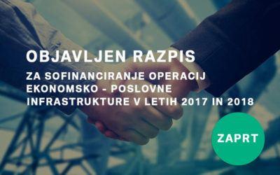 Razpis za sofinanciranje operacij ekonomsko – poslovne infrastrukture v letih 2017 in 2018