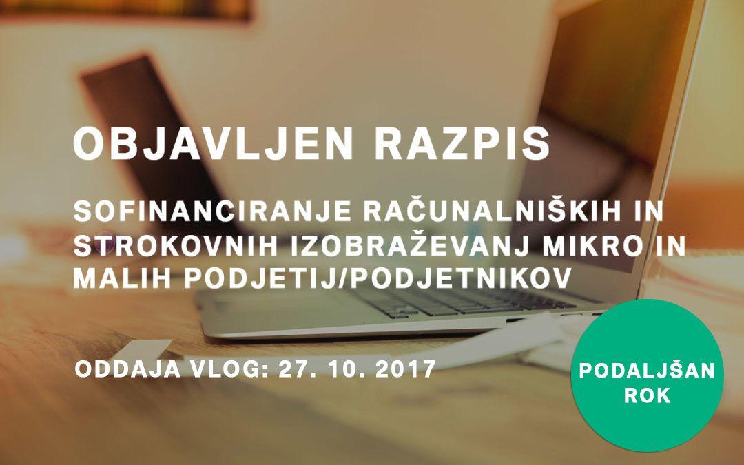 Sofinanciranje računalniških in strokovnih izobraževanj mikro in malih podjetij/podjetnikov