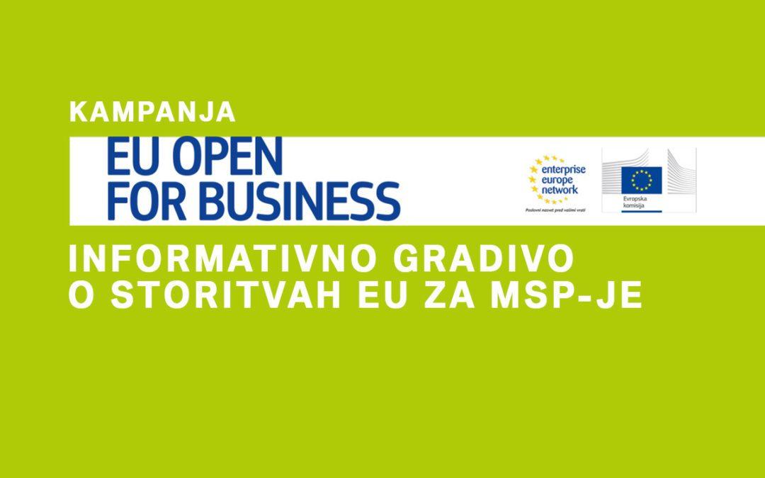 Kampanja EU Open for Business – informativno gradivo o storitvah EU za MSP-je