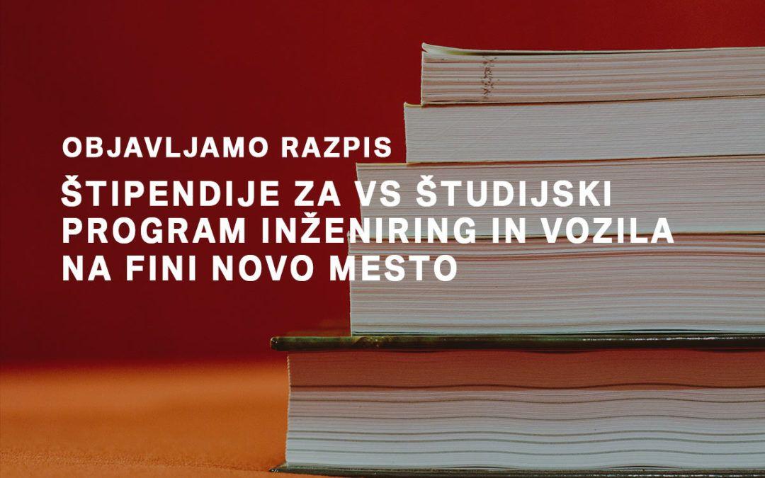 Razpis štipendij za VS študijski program Inženiring in vozila na FINI Novo mesto