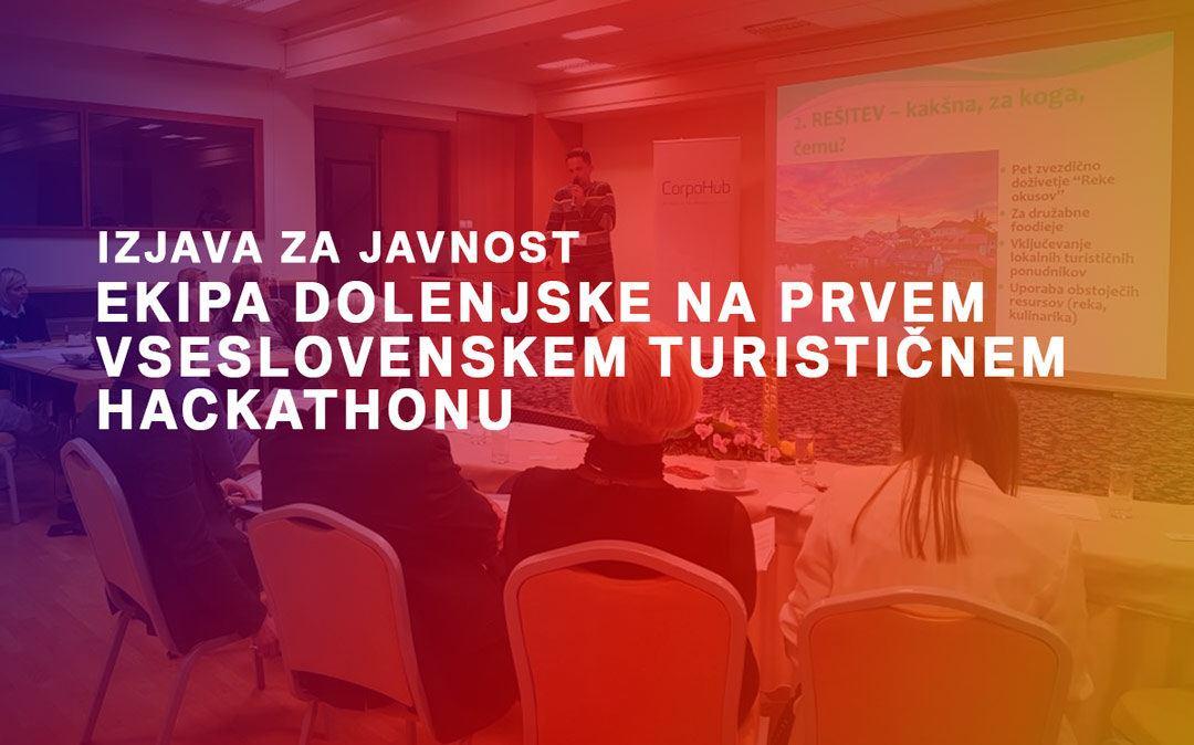 Ekipa Dolenjske na 1. vseslovenskem turističnem hackathonu