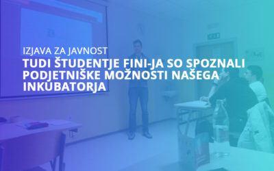 Tudi študentje FINI-ja so spoznali podjetniške možnosti našega inkubatorja