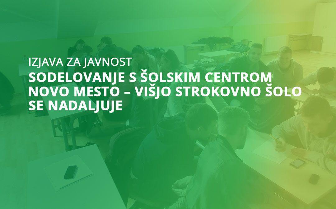 Sodelovanje s Šolskim centrom Novo mesto – Višjo strokovno šolo se nadaljuje