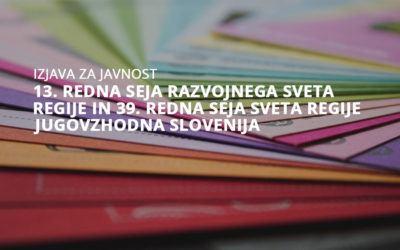 13. redna seja Razvojnega sveta regije in 39. redna seja Sveta regije Jugovzhodna Slovenija