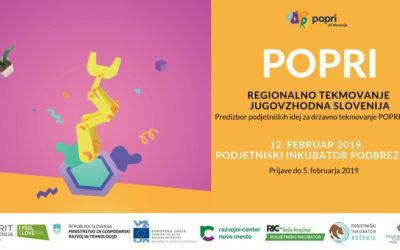 POPRI – Regionalno tekmovanje Jugovzhodna Slovenija: Predizbor podjetniških idej za državno tekmovanje POPRI 2019