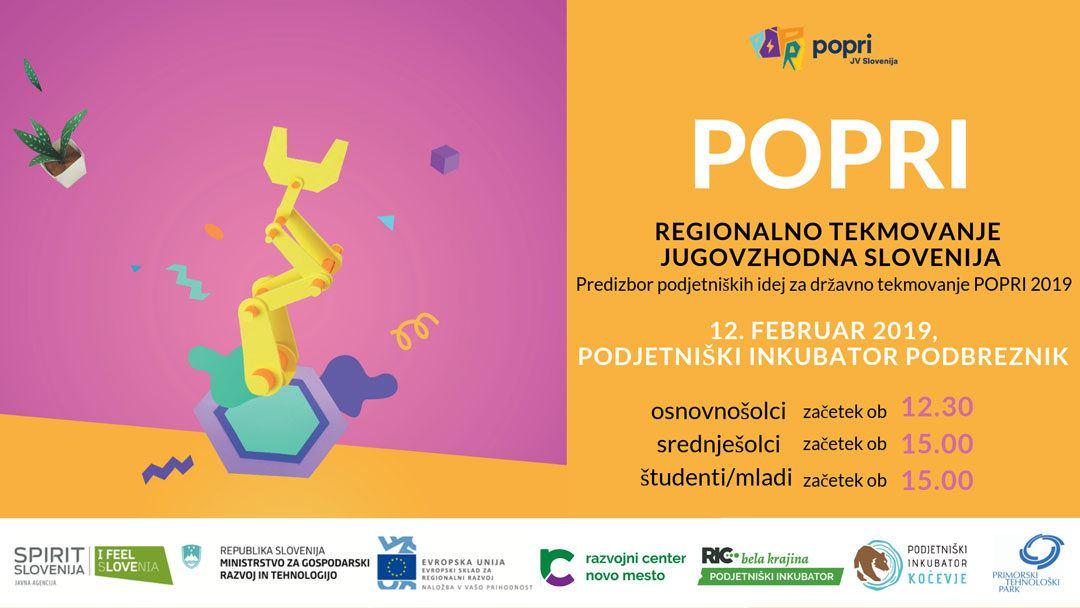 V torek bo v Podbrezniku preko 110 podjetniško mislečih. Prihajajo POPRI 2019* – predizbor JV Slovenija
