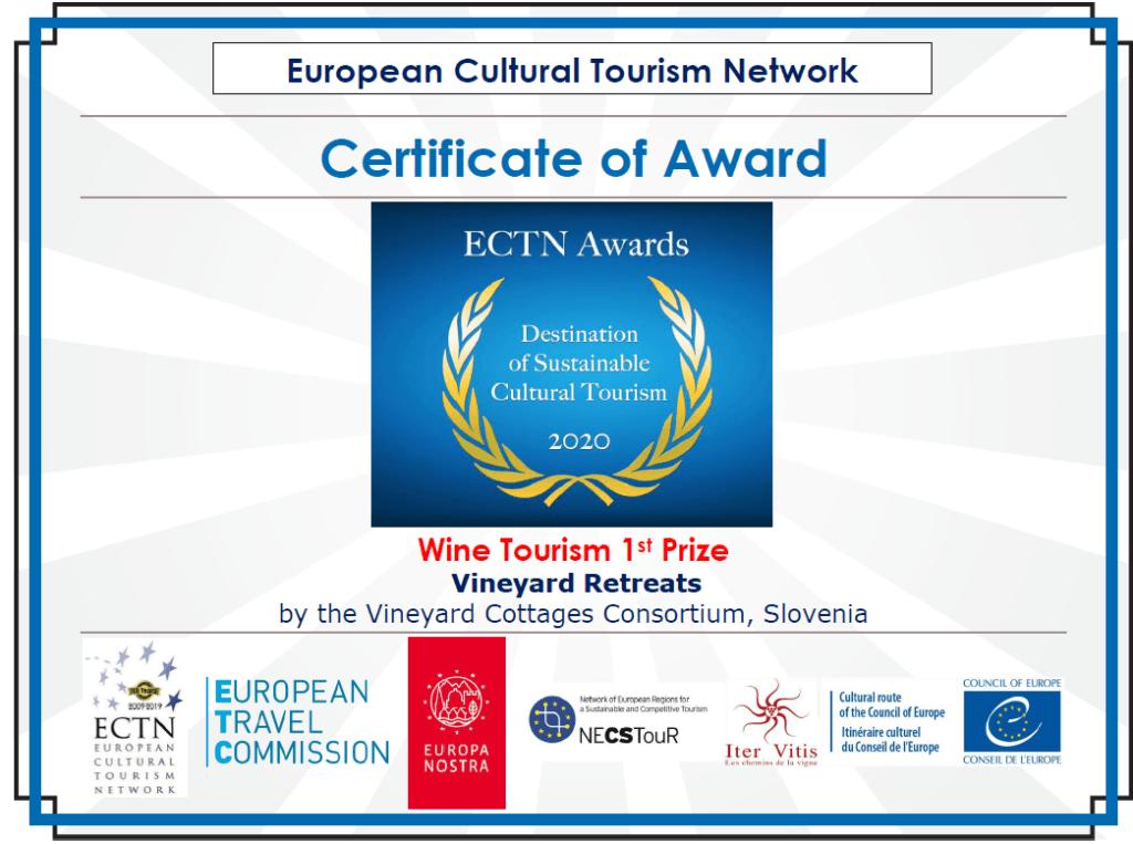 Nagrada destinacije trajnostnega turizma v kategoriji Vinski turizem 2020